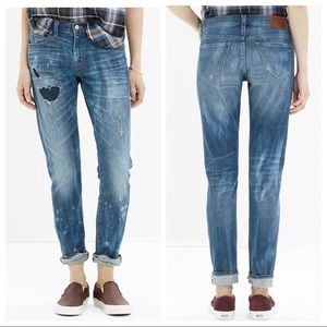 Madewell The Slim Boyjean Rip And Repair Patchwork Boyfriend Jeans Size 29 Blue